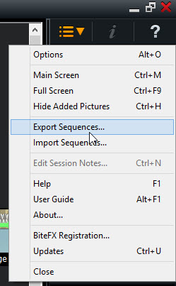 Select Export sequences