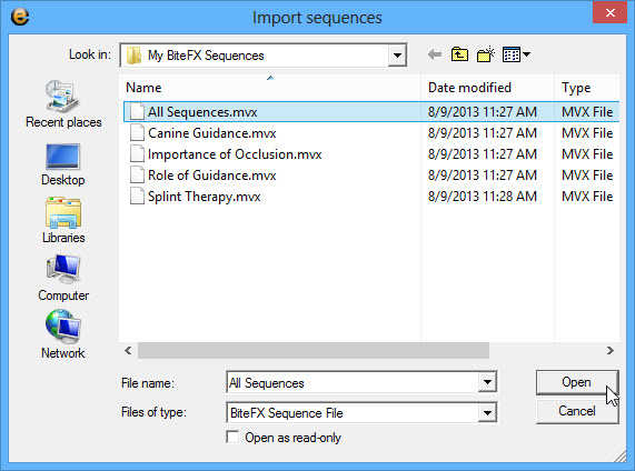 Select All Sequences then Open