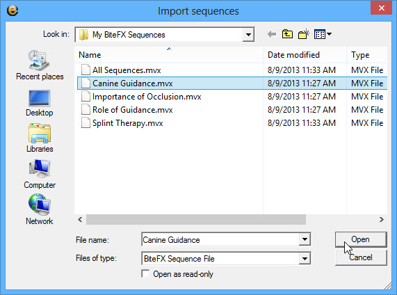Select Desired Sequence Then Open
