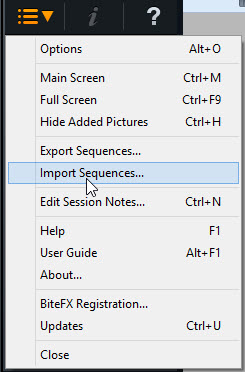 Select Import Sequences From Menu