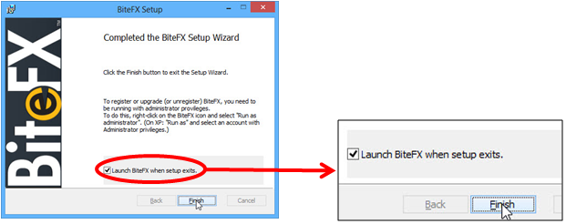 Launch BiteFX when setup exits and click finish