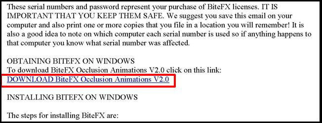 BiteFX Order Confirmation Link
