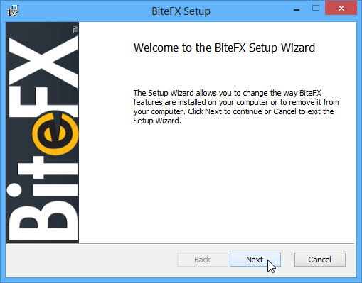 BiteFX Setup Wizard Welcome Screen