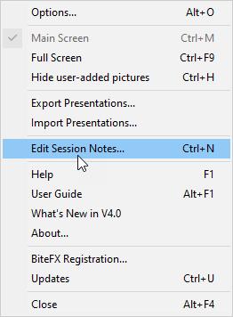 Edit Session Notes in Menu List V4