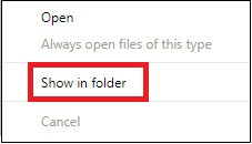 Google Show in Folder with Box