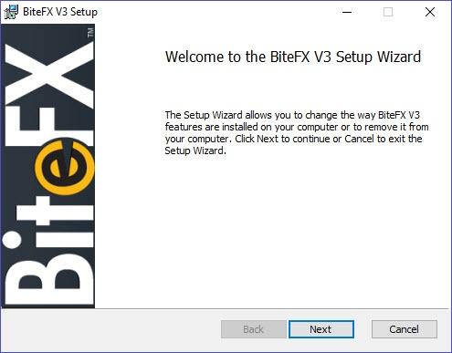 BiteFX V3 Setup Wizard Screen 1